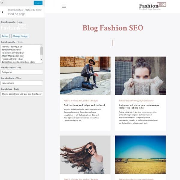 Fashion Blog Options Footer