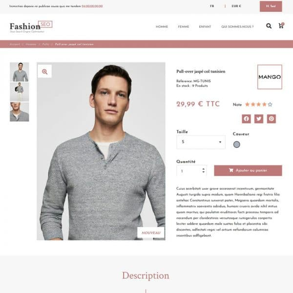 Fashion Seo Produit