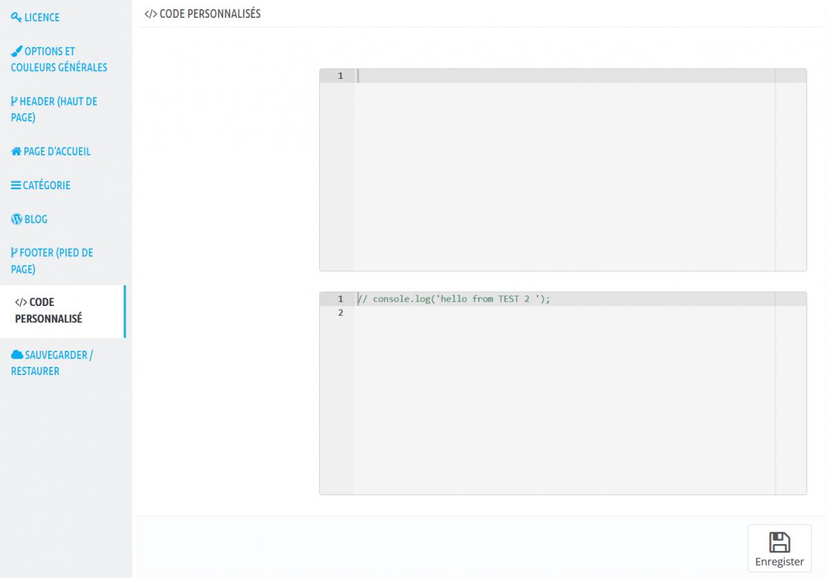 Module Theme Editor Code Perso