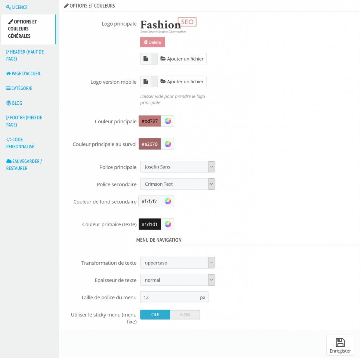 Module Theme Editor Options Generales