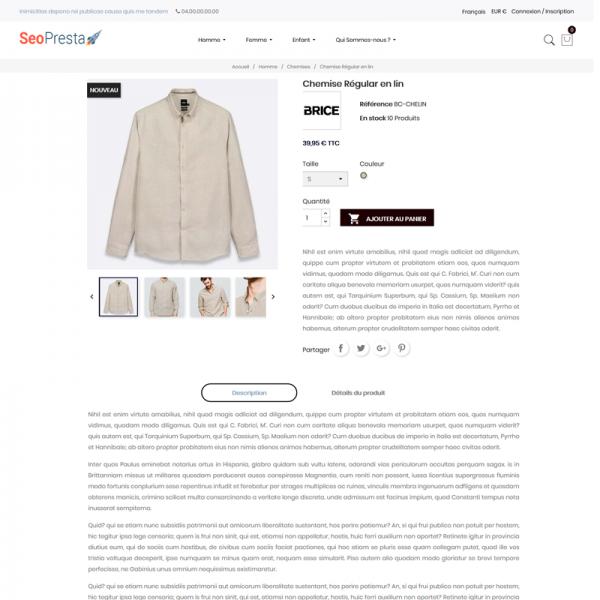 SeoPresta Thème - Page produit