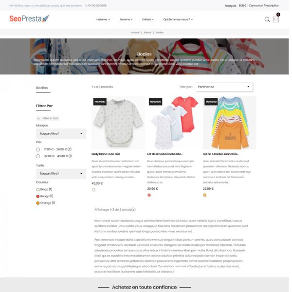 Seo PrestaShop Thème - Page catégorie produits avec texte optimisé SEO