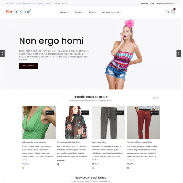 Seo PrestaShop Thème - Page d'accueil